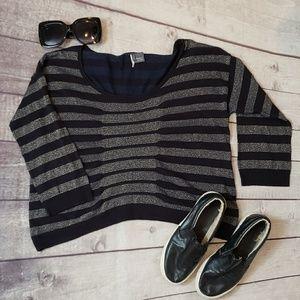 SPARKLE & FADE black glitter stripe sweater S
